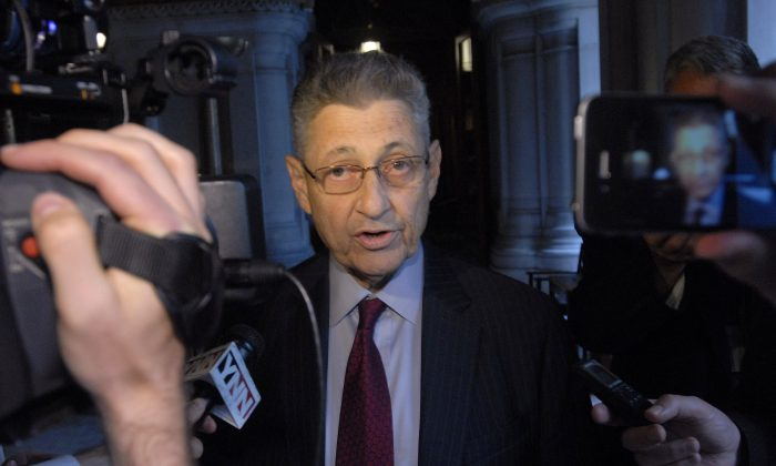 New York Assembly Speaker Sheldon Silver, D-Manhattan, speaks with reporters at the Capitol in Albany, N.Y., on Friday, June 21, 2013. (AP Photo/Tim Roske)