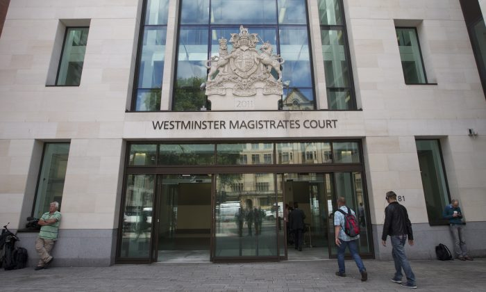 """A general view of Westminster Magistrates court where Italian Mafia boss Domenico Rancadore, appeared for a custody hearing as he is facing extradition to Italy, in London, Friday, Aug. 9, 2013. Police say Rancadore is wanted in Italy to serve an outstanding seven-year sentence """"for participation in Mafia association"""" in Sicily between 1987 and 1995. (AP Photo/Alastair Grant)"""