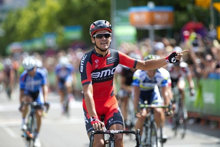 BMC's Greg van Avermaet crosses the finish line five lengths ahead of the competition to win Stage One of the 2013 Tour of Utah. (bmcracingteam.com)