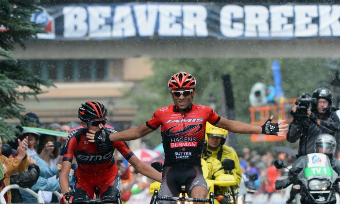 Janier Acevedo of Jamis-Hagens Berman celebrates as he wins the race just in front of Tejay van Garderen of BMC during Stage Four of the USA Pro Cycling Challenge on August 22, 2013 in Beaver Creek, Colorado. (Garrett W. Ellwood/Getty Images)