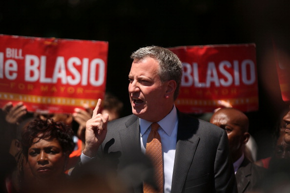 NEW YORK, NY - JULY 30: New York Democratic mayoral candidate Bill de Blasio speaks to supporters during a campaign event on July 30, 2013 in New York City. Following the meltdown of Anthony Weiner's campaign due to a 'sexting' scandal, deBlasio has risen in recent polls with some putting him at number two behind frontrunner Christine Quinn. (Photo by Spencer Platt/Getty Images)