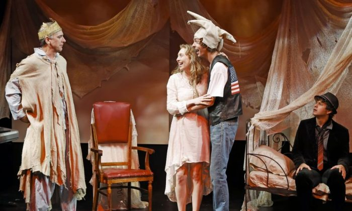 """(L–R) Michael Countryman, Crystal Finn, Evan Shinners, and Jesse Scheinin in the very funny """"Breaking the Spell,"""" written by Tina Howe. (Carol Rosegg)"""