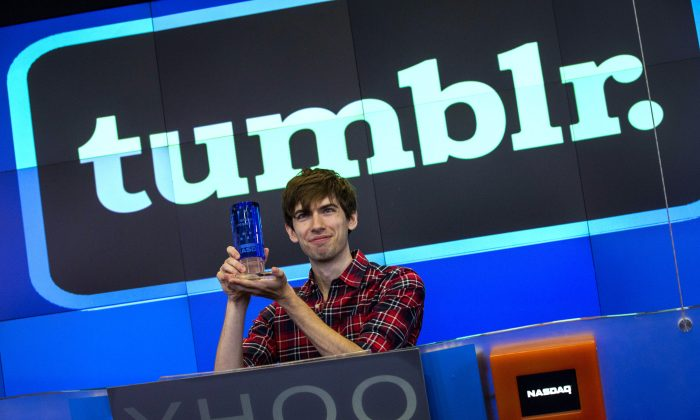 David Karp, founder of the micro-blogging site Tumblr, opens the NASCAQ Exchange on July 11, 2013 in New York City. Tumblr was bought by Yahoo! for $1 billion in May. (Andrew Burton/Getty Images)