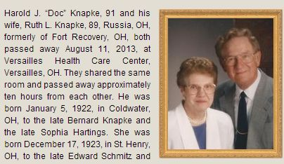An obituary for Harold and Ruth Knapke, married 65 years, both died Aug. 11, 2013.