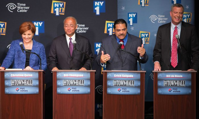 Democratic candidates for Mayor of New York City, from left, Christine Quinn, Bill Thompson, Erick Salgado, and Bill de Blasio participate in the first Democratic mayoral primary debate at the Town Hall Wednesday, Aug. 21, 2013 in New York. (AP Photo/The New York Times, Ruth Fremson)