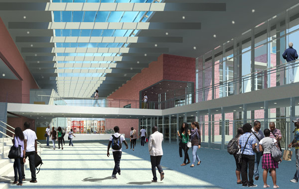 A rendering of the Armory entry way of the Dunbar High School, the nation's first LEED Platinum High School. (Photo/ EE& K Architects and Engineers)