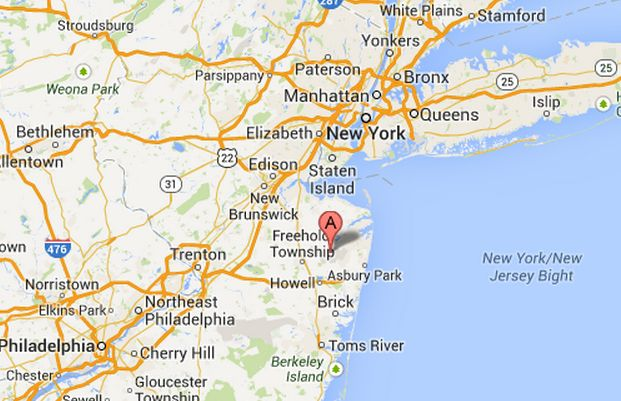 The location of the Naval Weapons Station Earle in Middletown, New Jersey, where an explosion occurred Tuesday, Aug. 20, 2013. (Screenshot/Google Maps)