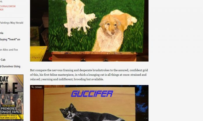 A screenshot of Gawker.com shows the new cat and dogs paintings.