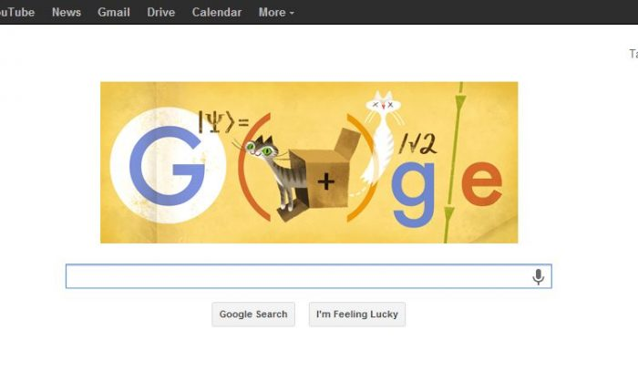 Google Doodle for Monday, Aug. 12, 2013, pays tribute to physicist Erwin Schrödinger whose famous experiment used cats. (Screenshot/Google.com)