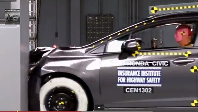 An Insurance Institute for Highway Safety crash test of the Honda Civic, after which the institute gave the Civic the highest rating for safety. (Screenshot/YouTube)