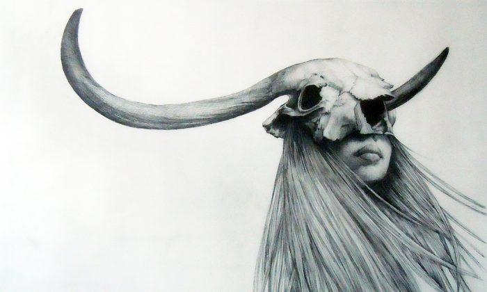 Horned Girl (2011), graphite, 22in x 30in (Courtesy of Anastasia Alexandrin)