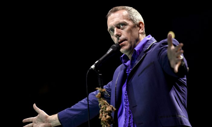 British singer and actor Hugh Laurie, performs on stage with his band, on July 12, 2012, during the 'Jazz A Vienne' music festival in Vienne, center France. (Jeff Pachoud/AFP/GettyImages)