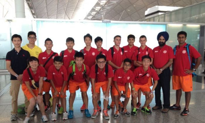 The Hong Kong U-15 hockey team and leaders at Hong Kong airport ready to fly to the Youth International Hockey Championships in China on Tuesday Aug 20. The tournament runs from Aug 22 to -26. (Gurcharan Singh)