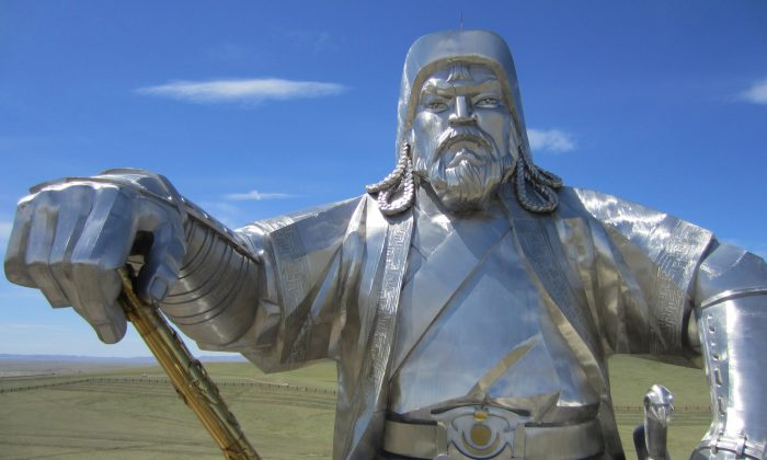 The massive 131-foot-tall, 250-ton stainless steel statue of Genghis Khan 30 miles from Ulan Bator, the capital of Mongolia.(Giannella M. Garrett)