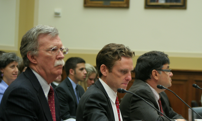 John Bolton, senior fellow, American Enterprise Institute (L); Mark Dubowitz, executive director, Foundation for Defense of Democracies (C); and Dr. Daniel Brumberg, Center for Conflict Management, testify July 31 before the House Foreign Affairs Committee on the Iran-Syria nexus. (Gary Feuerberg/Epoch Times)