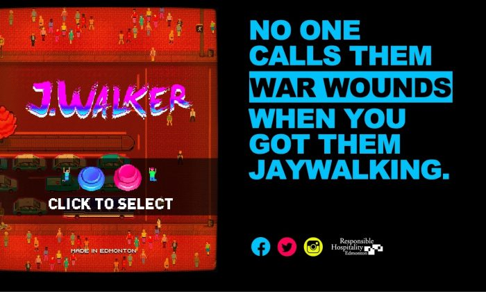 Responsible Hospitality Edmonton has developed a video game to remind young adults about the dangers of jaywalking, particularly at night. (Screenshot/www.notagame.ca)