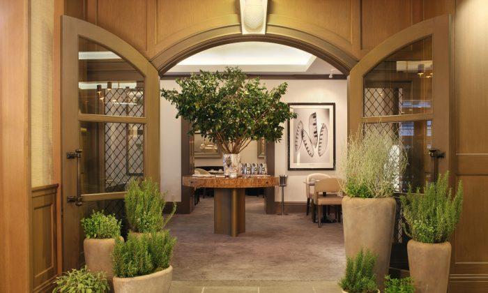 The entrance of Juni, a new restaurant inside Manhattan's Hotel Chandler in Midtown.
