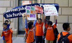 John Liu Supporters Heckle, Block Protesters