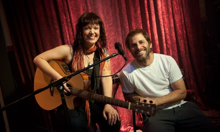"""B.C. musician Allison Crowe with Hollywood director Zack Snyder on the set of """"Man of Steel"""" in Cassidy, B.C. Canadian music is becoming more popular and lucrative around the world, according to the Society of Composers, Authors and Music Publishers of Canada. (Courtesy Clay Enos/Warner Bros)"""
