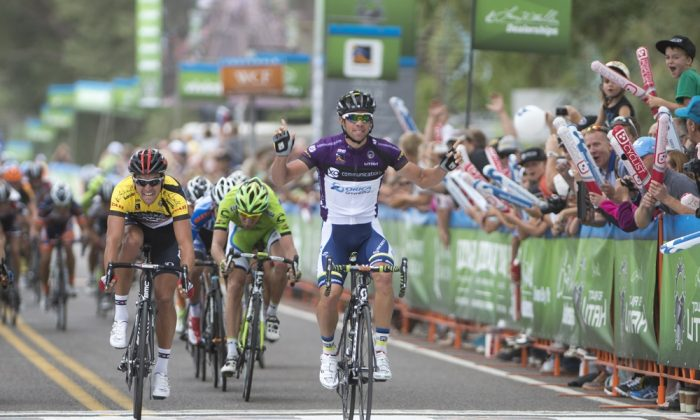 Michael Matthews wins Stage Two of the Tour of Utah, his first stage for Orica GreenEdge, and also wins the race lead. (GreenEdgeCycling.com)