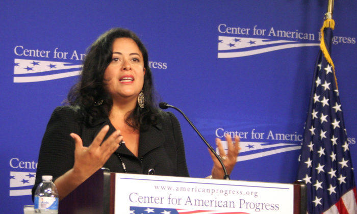 Peace advocate and author Maya Soetoro-Ng spoke Aug. 14 at the Center for American Progress on ending the scourge of human trafficking. Soetoro-Ng is the maternal half-sister of the president, Barack Obama. (Gary Feuerberg/ Epoch Times)
