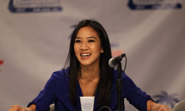 Michelle Kwan speaks at a press conference about being inducted in to the U.S. Figure Skating Hall of Fame during the 2012 U.S. Figure Skating Championships at HP Pavilion in San Jose, Calif., on Jan. 27, 2012. (Ezra Shaw/Getty Images)