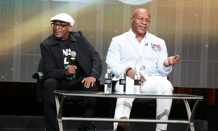 Director Spike Lee (L) and Mike Tyson speak onstage during the 'Mike Tyson: Undisputed Truthts' panel discussion at the HBO portion of the 2013 Summer Television Critics Association tour 2 at the Beverly Hilton Hotel in Beverly Hills, Calif., on July 25, 2013. (Frederick M. Brown/Getty Images)