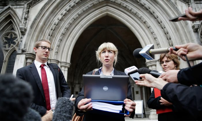 Lawyer Gwendolen Morgan, acting for David Miranda, speaks to the media on August 22, 2013 in London, England. (Matthew Lloyd/Getty Images)