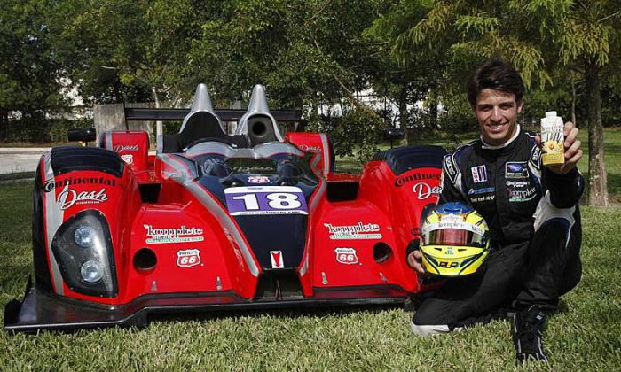 Tristan Nunez with the #18 Performance Tech Oreca in its new livery and a Kate Farms Komplete Shake, ready for Baltimore (tristnanunez.com)