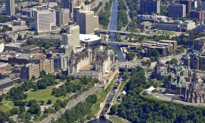 An aerial view of the Rideau Canal waterway locks in Ottawa near the Parliament Buildings. The Canadian capital ranked first in a study that compared 61 cities based on measures of economic development and quality of lifestyle, ahead of cities such as Oslo, Amsterdam, Copenhagen, London, Tel Aviv, and New York. (SF Photo/Photos.com)