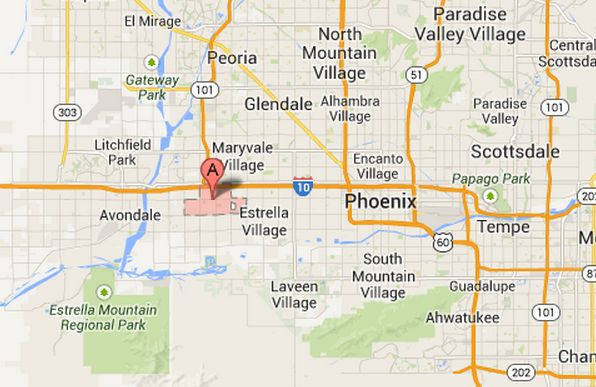 The Phoenix, Az., neighborhood (A) in which a Maricopa County Sheriff's Office employee was shot and critically injured Thursday morning. (Screenshot/Google Maps)
