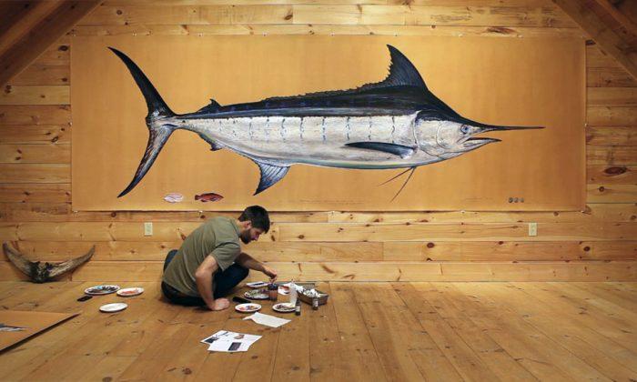 James Prosek working on a life-sized marlin portrait in his Easton, Conn. studio. (Jason Houston)
