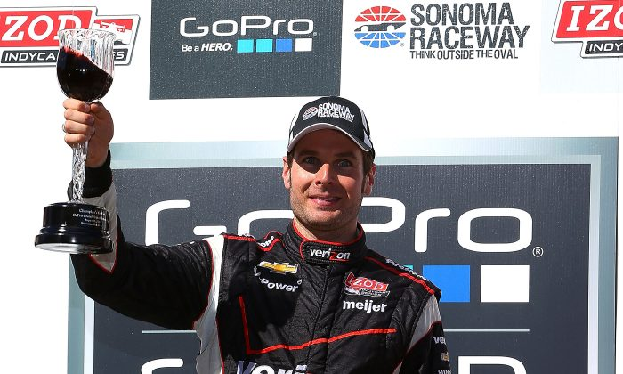 Will Power, driver of the #12 Verizon Team Penske Chevrolet Dallara celebrates with his wine goblet trophy after winning the IndyCar Series GoPro Grand Prix of Sonoma on August 25, 2013 at Sonoma Raceway in Sonoma, California. (Jonathan Ferrey/Getty Images)
