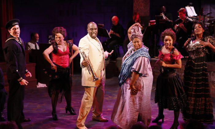 "(L–R) Clifton Samuels, Debra Walton, Michael Leonard James, NaTasha Yvette Williams, Karen Burthwright, and Zakiya Young as they appear in ""Storyville,"" a New Orleans musical. (Carol Rosegg)"