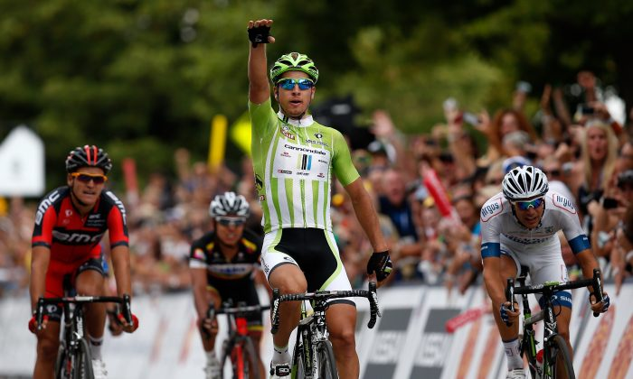 Peter Sagan of Cannondale Pro Cycling celebrates after winning stage six of the USA Pro Challenge on August 24, 2013 in Fort Collins, Colorado. (Chris Graythen/Getty Images)