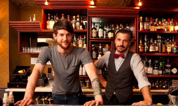 Top mixologists Thor Bergquist (L) and Xavier Herit at Experimental Cocktail Club on the Lower East Side. (Samira Bouaou/Epoch Times)