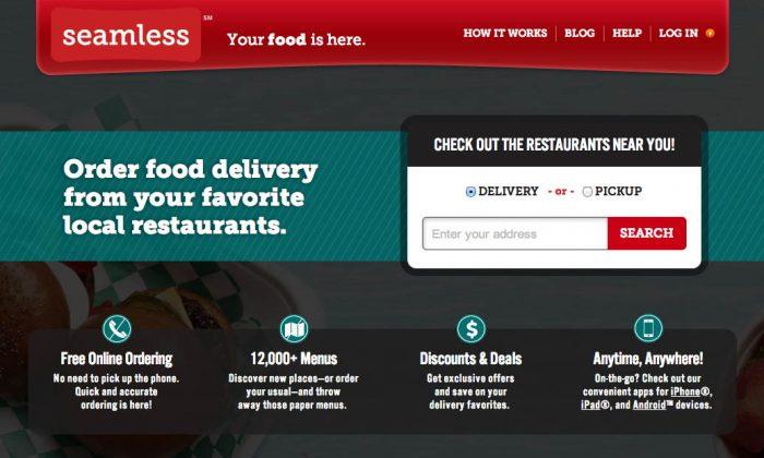 A screenshot of online food ordering website seamless.com.