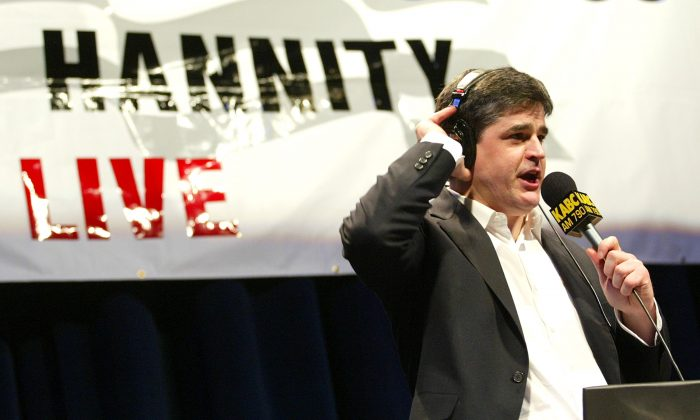 ABC Radio talk host Sean Hannity does his show live in front of an audience as Talkradio 790 KABC presents the 'Hannitization Tour '03 Sean Hannity Live!' at the Redondo Beach Performing Arts Center in Redondo Beach, Calif.,  on March 6, 2003. (Kevin Winter/Getty Images)
