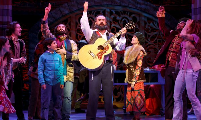 """Rabbi Shlomo Carlebach (Eric Anderson) surrounded by fans (the cast). """"Soul Doctor"""" is based on the life story of Rabbi Carlebach, who helped lead the revolution in popular music in the '60s. (Carol Rosegg)"""