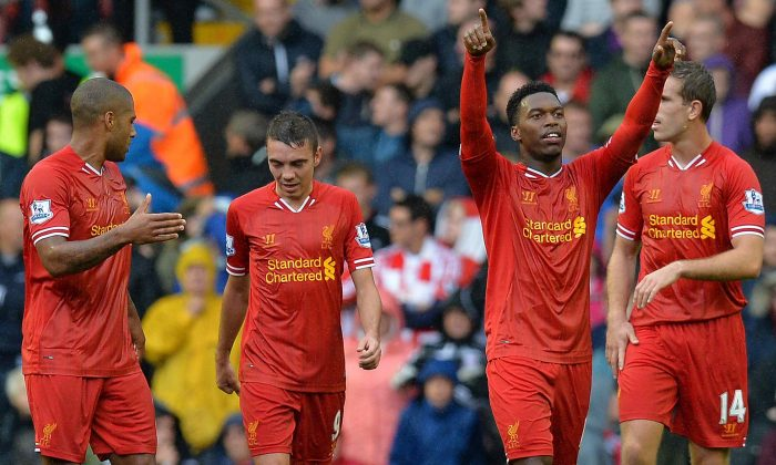 Liverpool's Daniel Sturridge celebrates his opening goal against Stoke City at Anfield in Liverpool, England on Aug. 17, 2013. (Andrew Yates/Getty Images)