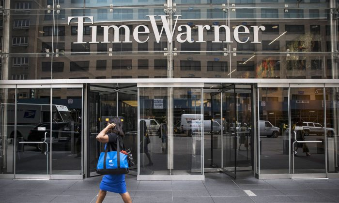 The entrance to the Time Warner center in New York City. The entertainment company was taken to task by the city council for dealings with CBS on Thursday. (Andrew Burton/Getty Images)