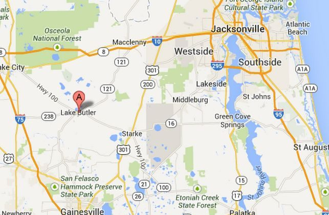 Lake Butler, Fla., where longtime truck company employee Hubert Allen Jr., 72, shot and killed former co-workers Saturday, Aug. 24, 2013. (Google Maps)