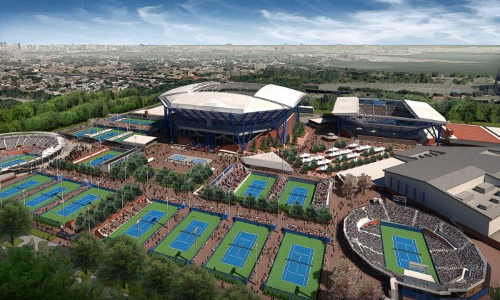 Aerial rendering of the planned USTA complex after work is complete in 2018. (Courtesy Rossetti Architects)