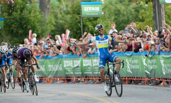 Michael Matthews of Orica-GreenEdgeenjoys his second win in Stage Four this year's Tour of Utah as BMC's Greg van Avermaet (in the purple Best Sprinter's jersey, ironically) is left in second place. (GreenEdgeCycling.com)