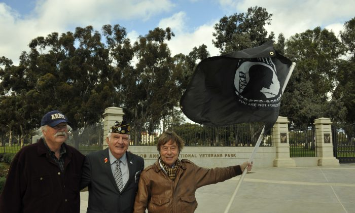 Old Veterans Guard protestors Robert Rosebrock, John Stamatiades, and David Bischoff at the Los Angeles National Veterans Park on Jan. 6. (Robin Kemker/Epoch Times)