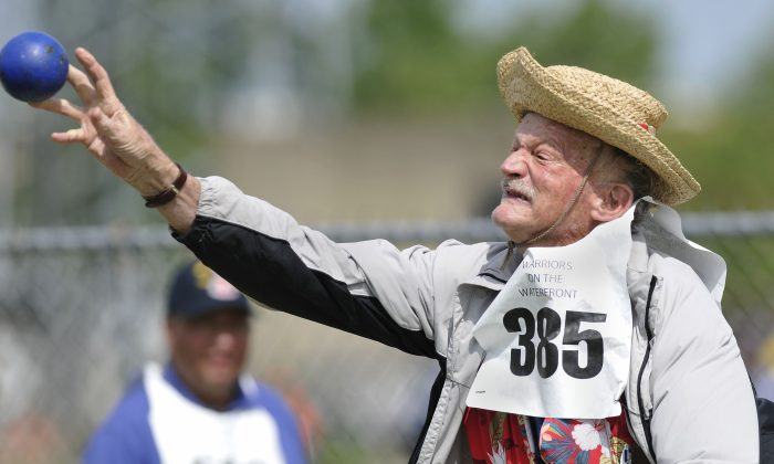 Army veteran Charles G. Morphy, of Martinez, Calif., participates in the National Veterans Golden Age Games hosted by the U.S. Department of Veterans Affairs on Saturday June 1, 2013 in Orchard Park, N.Y. (Dan Cappellazzo/AP Images for U.S. Department of Veterans Affairs)