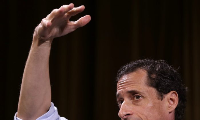 Democratic mayoral hopeful Anthony Weiner speaks at a candidate forum in New York, Tuesday, Aug. 13, 2013. The Democratic candidates for New York City mayor are holding their first debate Tuesday evening. (AP Photo/Seth Wenig)