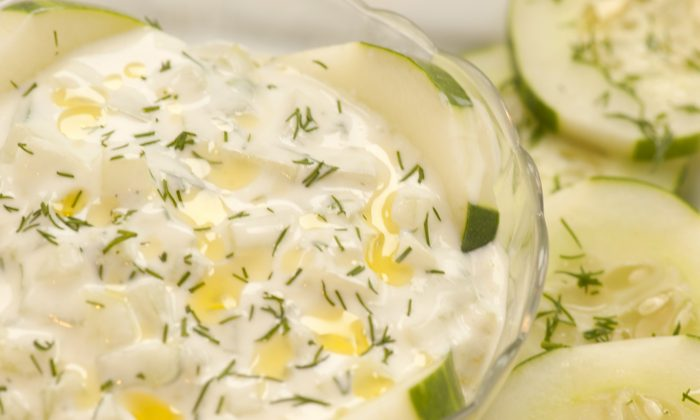 Fresh Yogurt Cucumber Salad (Cat Rooney, Epoch Times)