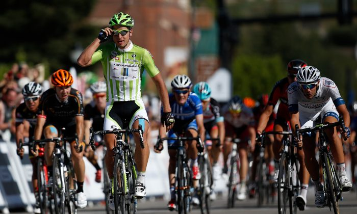 Peter Sagan of Cannondale Pro Cycling crosses the finish line to win Stage Three of the USA Pro Cycling Challenge on August 21, 2013 in Steamboat Springs, Colorado. (Chris Graythen/Getty Images)