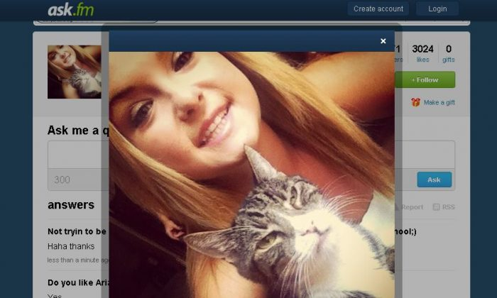 Hannah Anderson's profile picture on ask.fm, where she is answering questions on August 13, 2013. (Screenshot/ask.fm)